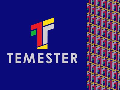 Temester green vector design brand identity branding design logo branding illustration brand design typography tf t mark