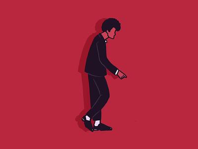 The moonwalker mj color character flat animation illustration vector