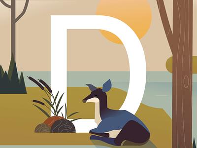 Dozing by the wind wind nap deer wild animation helvetica typogaphy 36daysoftype illustration