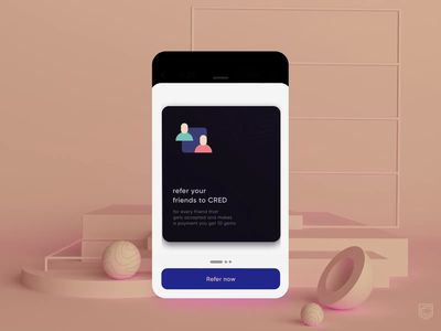 CRED 2.0 | Referral intro application ui credit fintech mobile ui mobile app mobile icon interface visualdesign ui palette flat animation color illustration vector