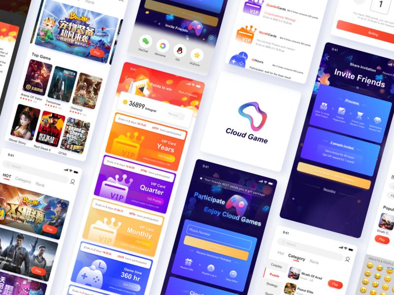 Cloud Game card continue to work hard app design cloudgame game app ue art ux interface ui design