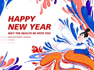 2020 HAPPY NEW YEAR ILLUSTRATIONS ui china typography continue to work hard colors art design illustration