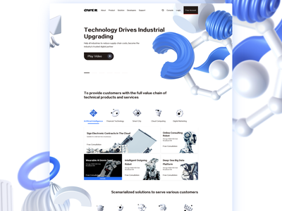 The website of science and technology interface design ui art technology typography colors interface ux website web illustration design