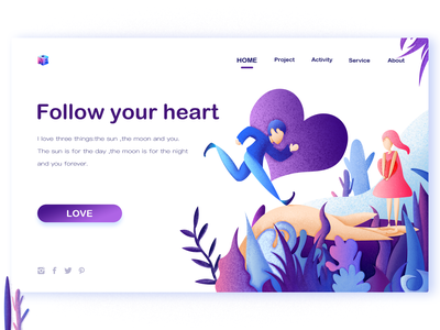 Follow Your Heart continue to work hard china heart ui ux web art typography interface design illustration colors