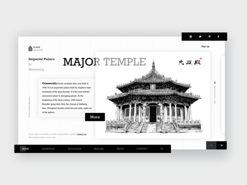 Imperial Palace In Shenyang Webpage-01 postcard handwork illustration typography card web ue ux interface colors china art ui design