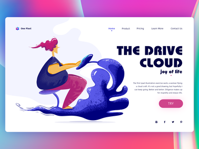 The drive cloud woman continue to work hard interface design handwork branding web card typography ue ux interface colors china art illustration ui design