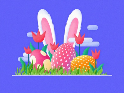 Easter Illustration continue to work hard heart postercard branding concept handwork web card typography illustration ue ux interface colors china art ui design easter egg easter