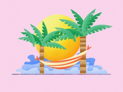 Coconut Trees Wave postcard interface design postercard continue to work hard app web handwork card typography illustration interface ue ux wave coconut colors ui china art design