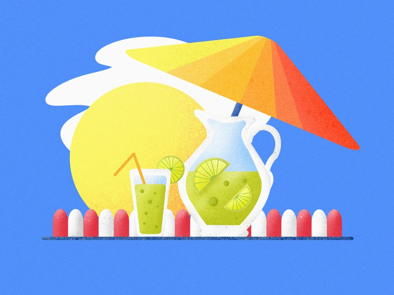 Sun Beach Lemon Tea continue to work hard interface design postercard postcard branding handwork card typography china colors art ue ux ui illustration interface design