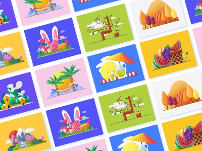 Illustrations Collection continue to work hard branding postercard postcard interface design handwork web card typography illustration ue ux interface colors china art ui design