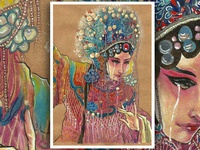 Decorative painting of peking opera