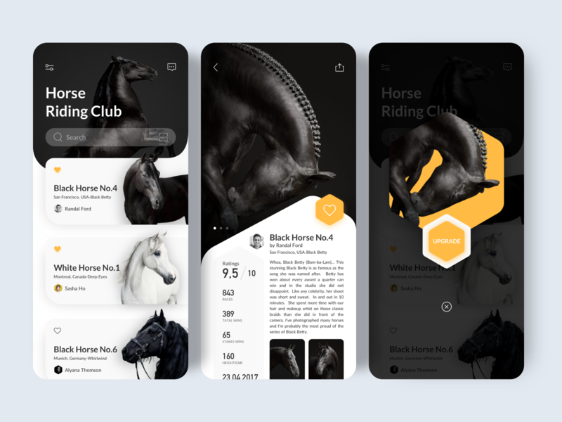 Horse Riding Club continue to work hard ue ux interface ui design