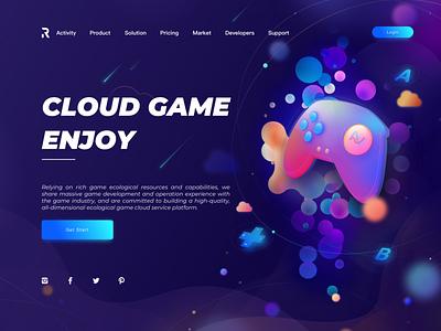 CLOUD GAME ENJOY web design continue to work hard typography web colors art illustration ue ux interface ui design