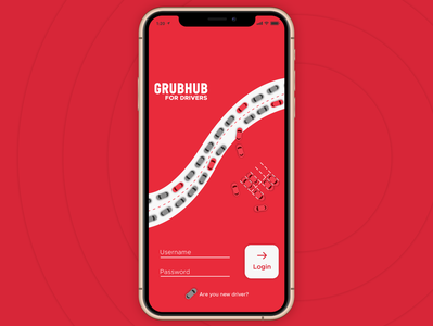 Grubhub Driver App Login Page Product Design (UX - UI)
