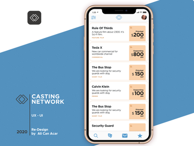 LA Casting Network App List Product Design (UX - UI)