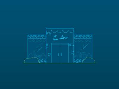 la tienda store line infographic building simple brick stroke glow