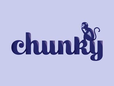 chunky monkey purple light shadow 3d gradient font monkey