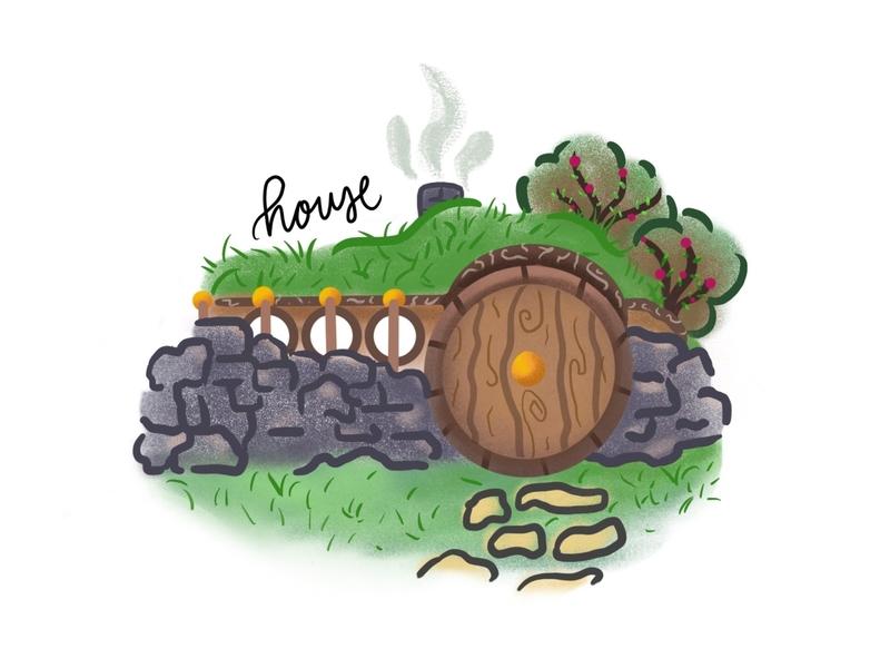 inktober day6: house bush rocks hobbit smoke grass inktober house