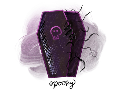 inktober day8: spooky procreate texture dark coffin challenge inktober spooky