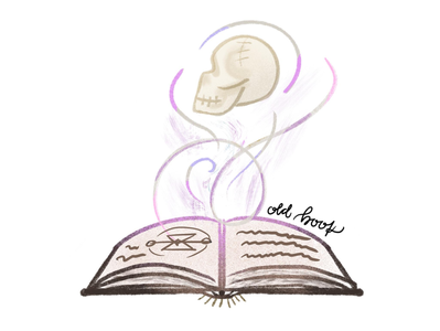 inktober day9: old book spell witch whimsical procreate challenge inktober skull book old