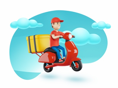 Express Delivery manga restaurant delivery service character people bike food object bubble sky 3d service express scooter man delivery