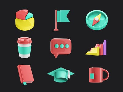 Business icons message graphic design coffee icons tea university flag compass book cup graphic ui design business bubble illustration object 3d