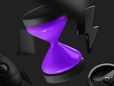 Business 3d Icons business icons hourglass compass lightning black illustration object 3d