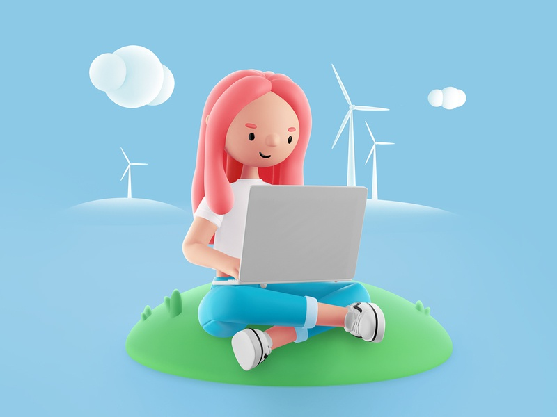 Ecology teen windmill ecology clouds webdesign web girl bubble blue object illustration 3d