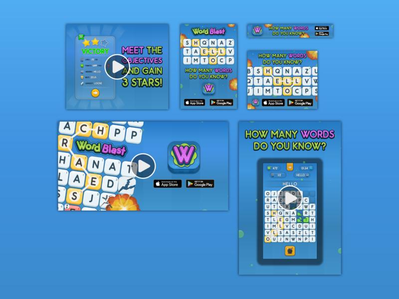 WordBlast Digital Marketing Materials mobile word game explosive google play store app store advertisment landscape portrait gif video game design app ui branding marketing