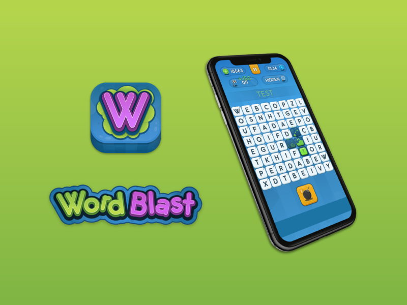 Wordblast mobile phone logo icon product design game design blast green blue explosive word game puzzle game app ui app design game
