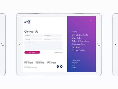 Orbit Homes Navigation nav iphone website web design mobile design web design