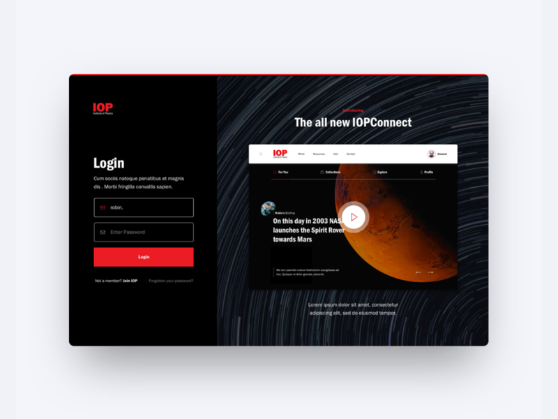 Institute of Physics - Login ux typography ui web website web design brand design logo