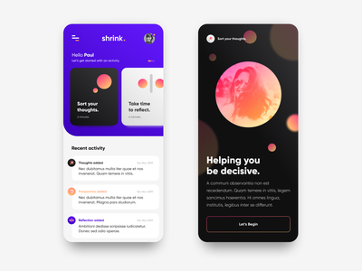 Shrink. - App Screens logo typography wip vector ui website brand design branding