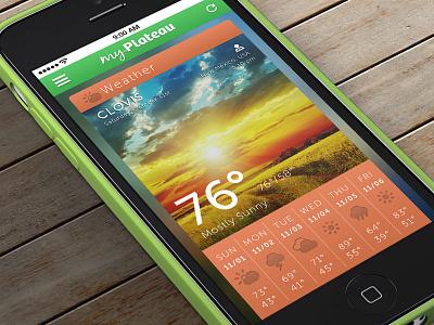 myPlateau Weather Concept appdesign photoshop weather myplateau mockup iphone5c template iosdesign