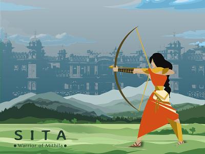 Sita - Illustration 2018 best illustration warrior sita graphic design modern minimal mythology illustration