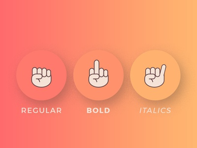 Regular Bold Italics illustration graphic design hand signs italics bold regular gradient 2018 typography