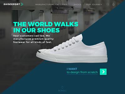 Shoe manufacturer website desktop ux minimal trend design shoe 2018 concept home page