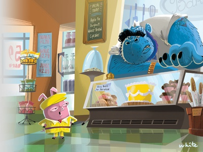 Percy and the grocer picturebook book childrens photoshop illustration pig percy