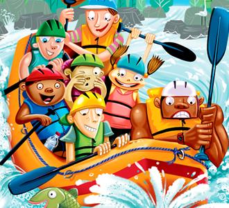 Whitewater Rafting magazine kids whitewater rafting highlights puzzle illustration