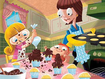 Cupcakes kids cupcake mom illustration painter retro