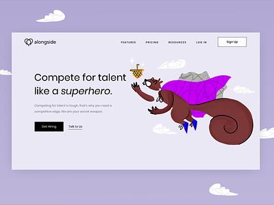 Compete like a superhero applicant tracking system jumbotron header illustration hiring platform ats hire squirrel hr