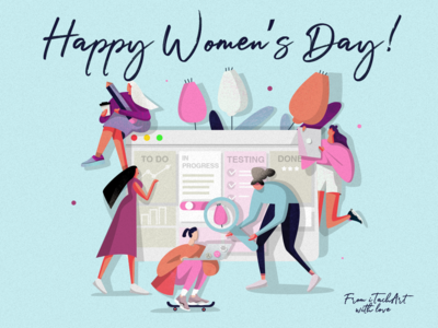 Happy International Women's Day! typography branding charachter design art charachter illustration art dribble characer vector texture social campaign itechart invite illustration graphic art design