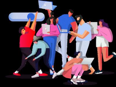 Team Illustration for social post