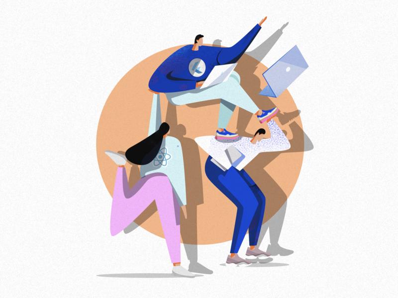 Illustration for a blog post laptop programming ui dribble charachter charachter design characer vector art social campaign illustration art illustration texture graphic art design itechart