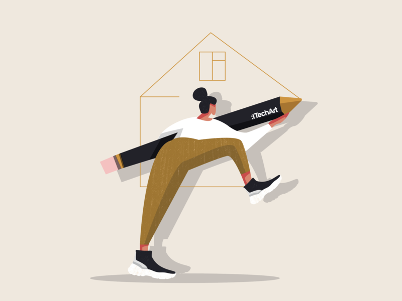 Ilustration for a social media post social network social media fashion nike women girl smart home zara real estate itechart character illustration illustartor