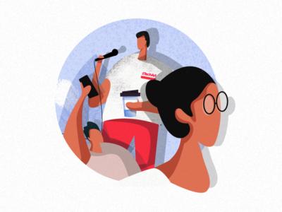 Illustration for a blog post conference character design character blogpost linkdin art social campaign texture graphic art design itechart illustration