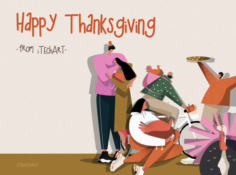 The Thanksgiving-themed post 🦃🥮♥️ turkey itechart characters linkedin post thanksgiving day thanksgiving illustration