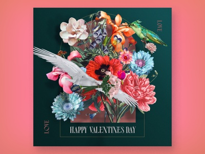 Love Is In The Air 🕊 Happy Valentines Day! flowers illustration valentine day dribbble weekly warmup color palette visual design illustration graphic design