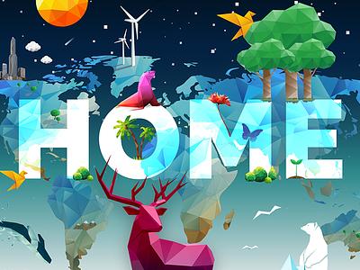🌍 Earth Day 2016 // No Place Like Home social campaign digital hollywood silicon beach polygonal epoxy tv nasa poylgon digital design graphic design vector art digital art earth day
