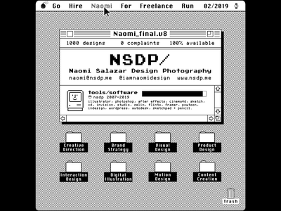 available_for_freelance_✔ illustrator cc brand strategy visual design product design interaction design digital illustration motion design content creation 1980s vintage computer apple system7 8bit macintosh pixel art monochrome freelance